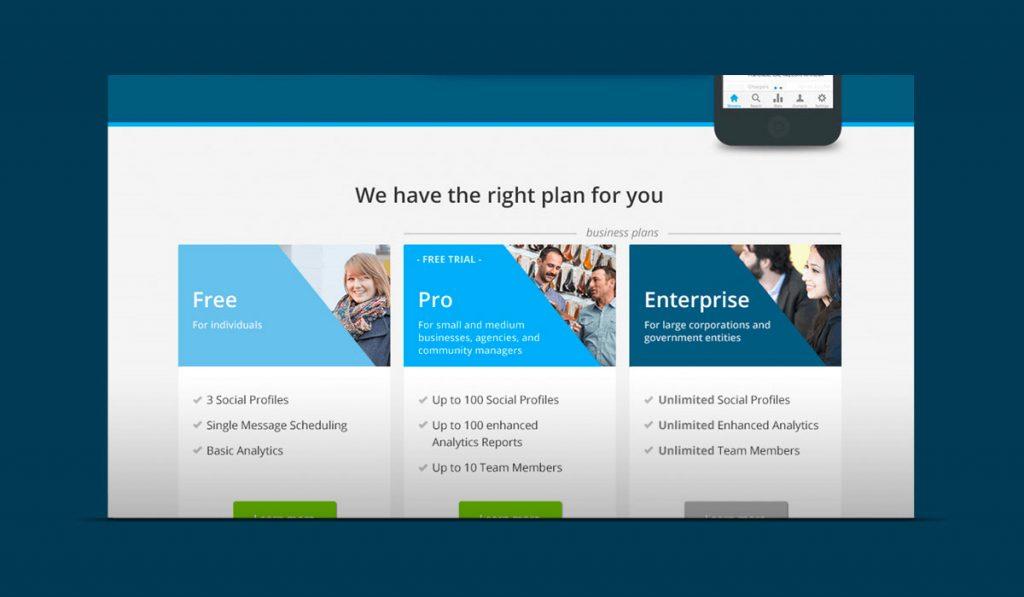 screenshot of Hootsuite homepage proposal
