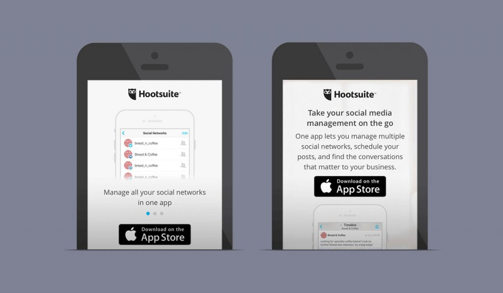 screenshots of Hootsuite mobile experiment