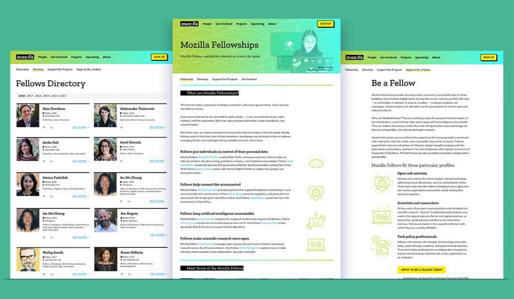 screenshot of Mozilla Fellowships pages