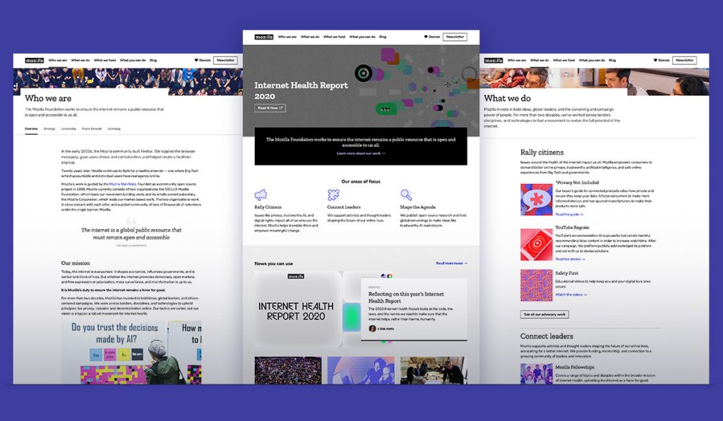screenshots of Mozilla Foundation site